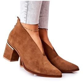 Leather Boots On High Heel Laura Messi Brown 2344