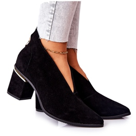 Leather Boots On High Heel Laura Messi Black 2344