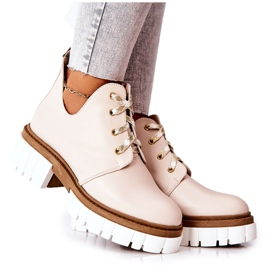 PA2 Leather Boots With A Cut Out Beige Kaxo