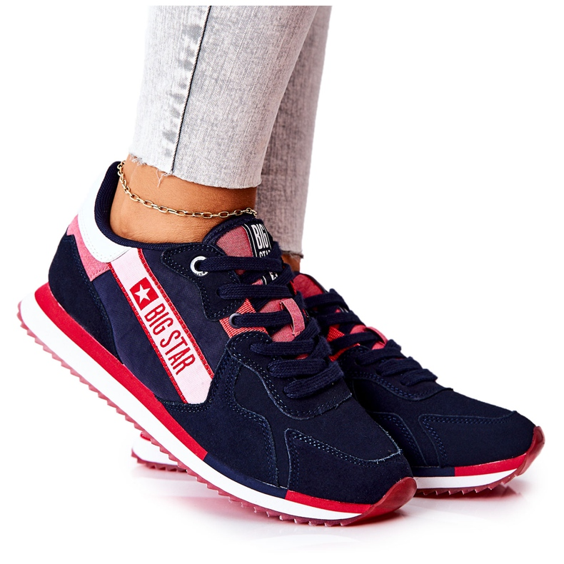 Leather sports shoes Big Star II274270 Navy blue white red