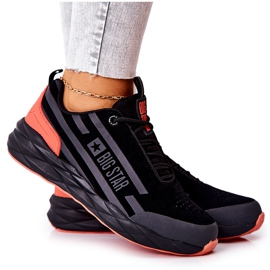 Leather Sport Shoes Big Star II274460 Black red