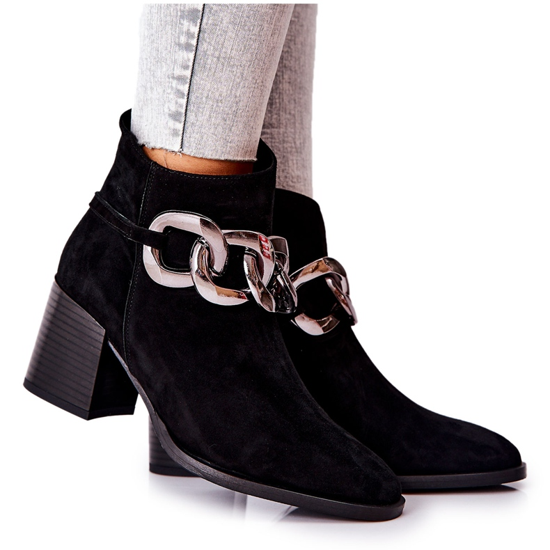Leather boots with chain Laura Messi Black 2345