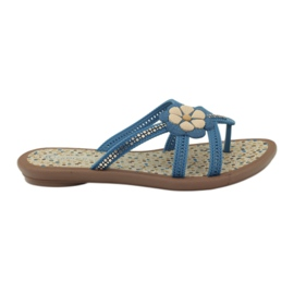 Rider blue Flip flops children's shoes with a flower to the water Grendha