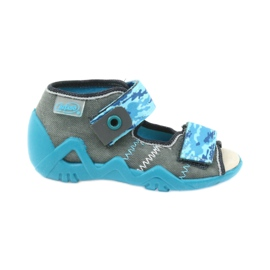 Befado children's shoes sandals with a leather insert 350P062 blue grey