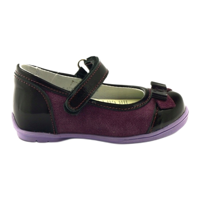 Ren But Maroon leather ballerinas with a bow multicolored violet