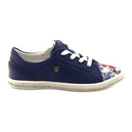 Dark blue children's shoes with flowers Bartek 85524 white multicolored