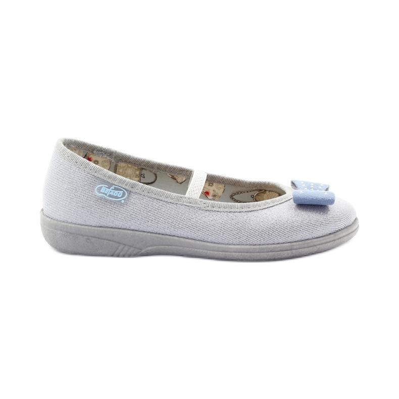 Girls' slippers Befado 346x022 bow grey blue
