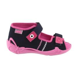Girls slippers Velcro Befado 242p056 navy blue pink