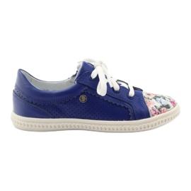 Girls' low shoes flowers Bartek 15524 blue multicolored