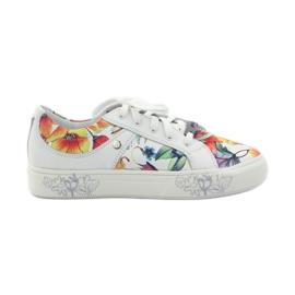 Girls' low shoes flowers Bartek white multicolored