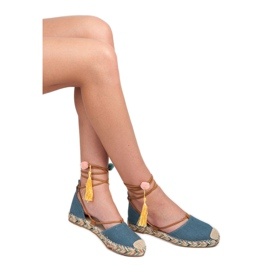 Vices Tied Espadrilles With Decorations blue