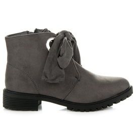 Bestelle grey Booties Tied with a Ribbon