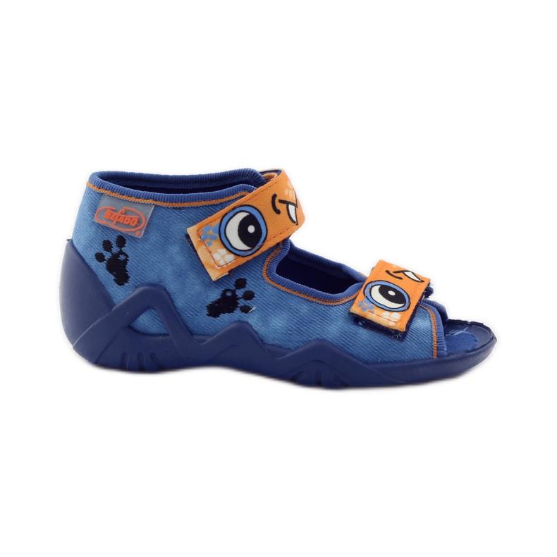 Blue slippers Velcro Befado 250p065 orange