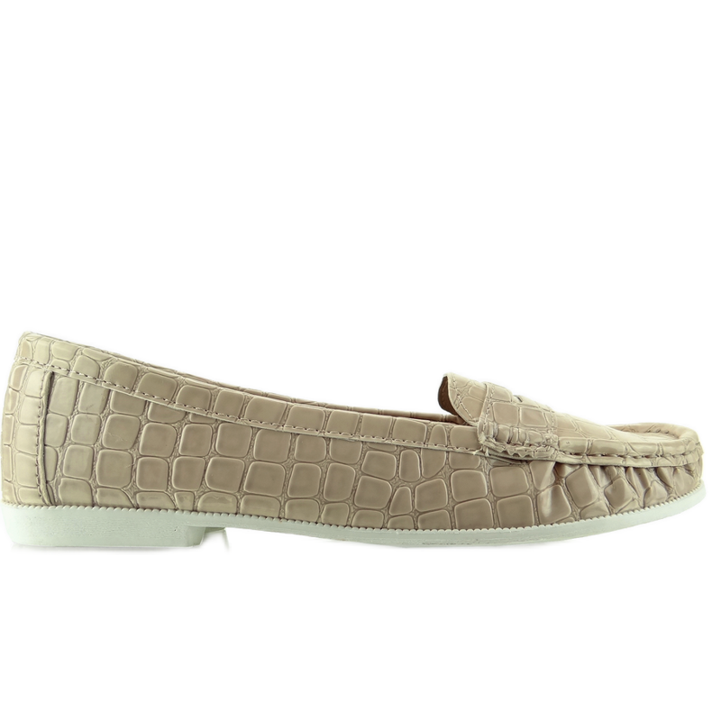 Women's loafers texture of Beige leather snake
