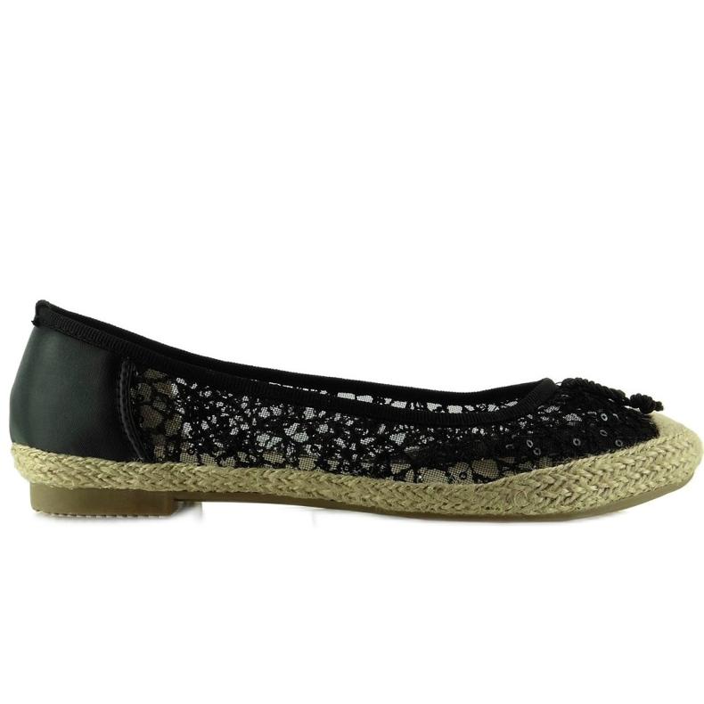 Ballerina lace espadrilles L99163 Black
