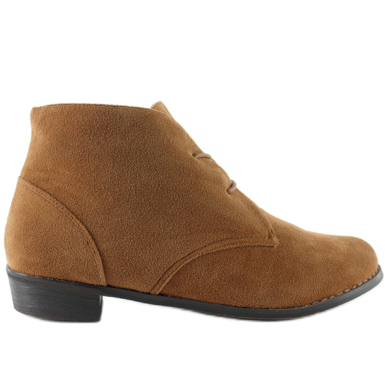 Suede lace-up shoes A-27 Camel brown