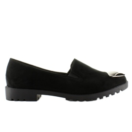 Loafers with a silver plate 2030 Black