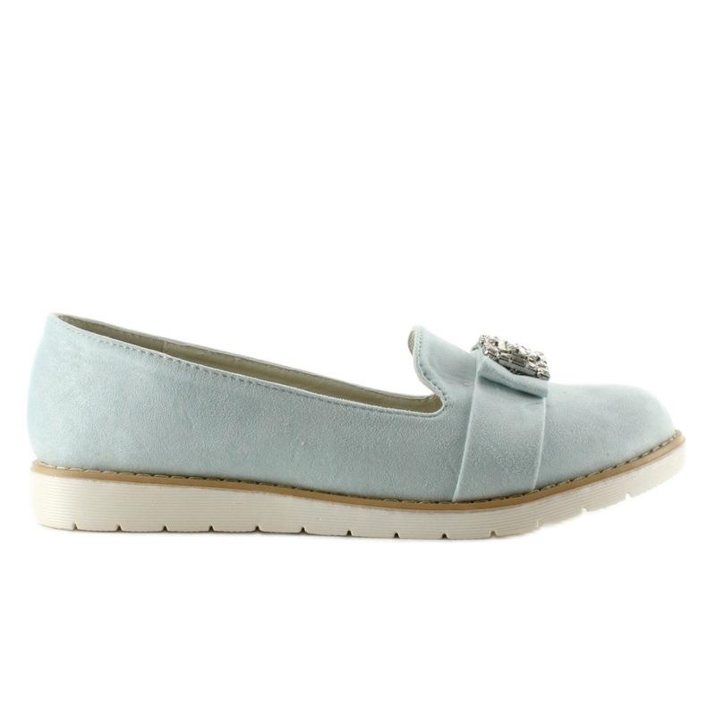Pastel suede T245 Blue moccasins
