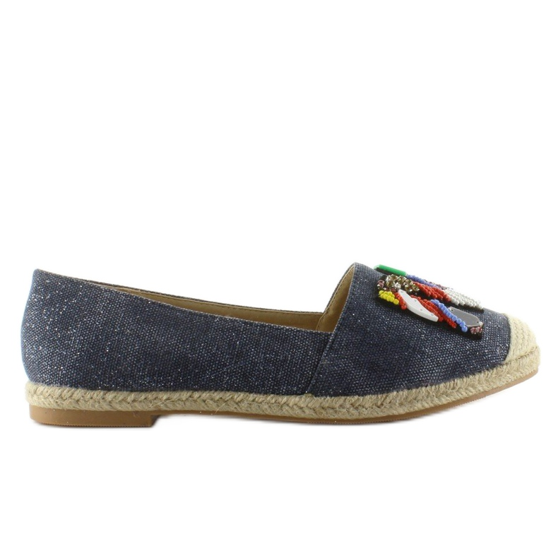 Espadrilles with colorful beads H8-58 D Blue