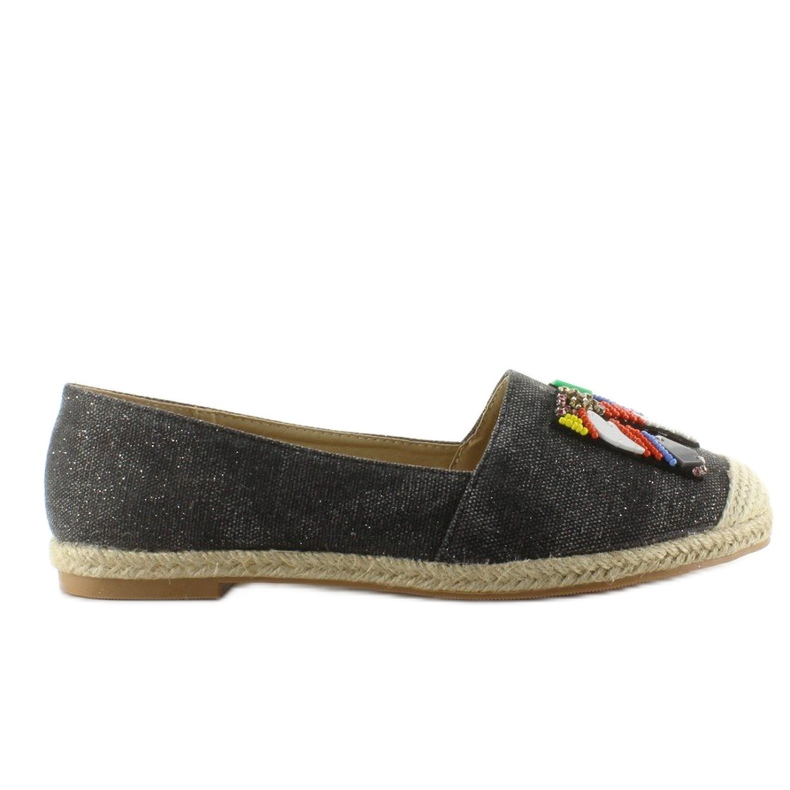 Espadrilles with colorful H8-58 Black beads