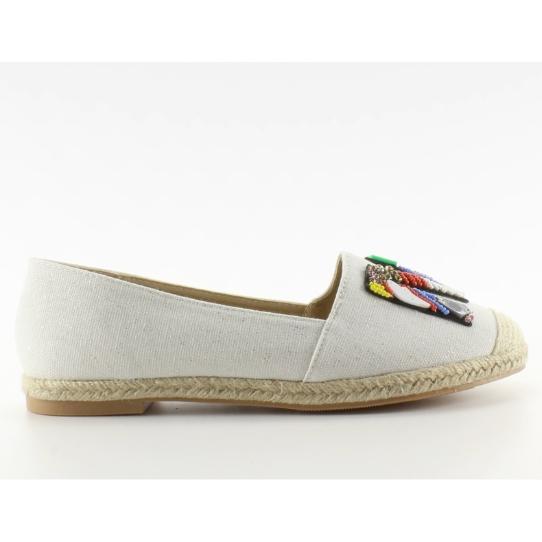 Espadrilles with colorful beads H8-58 White