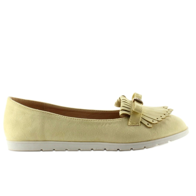 Pastel loafers with yellow fringes