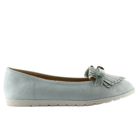 Pastel loafers with T261 blue fringes