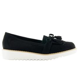Suede white mocassin T236p black sole