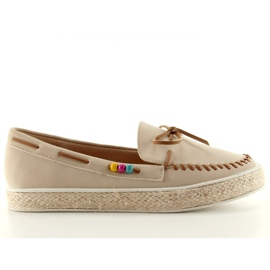 Loafers with colorful beads 2057Beige