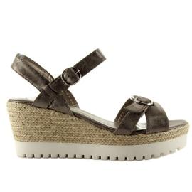 Metallic sandals espadrilles plomo grey