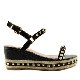 Espadrilles sandals with studs Y16P black