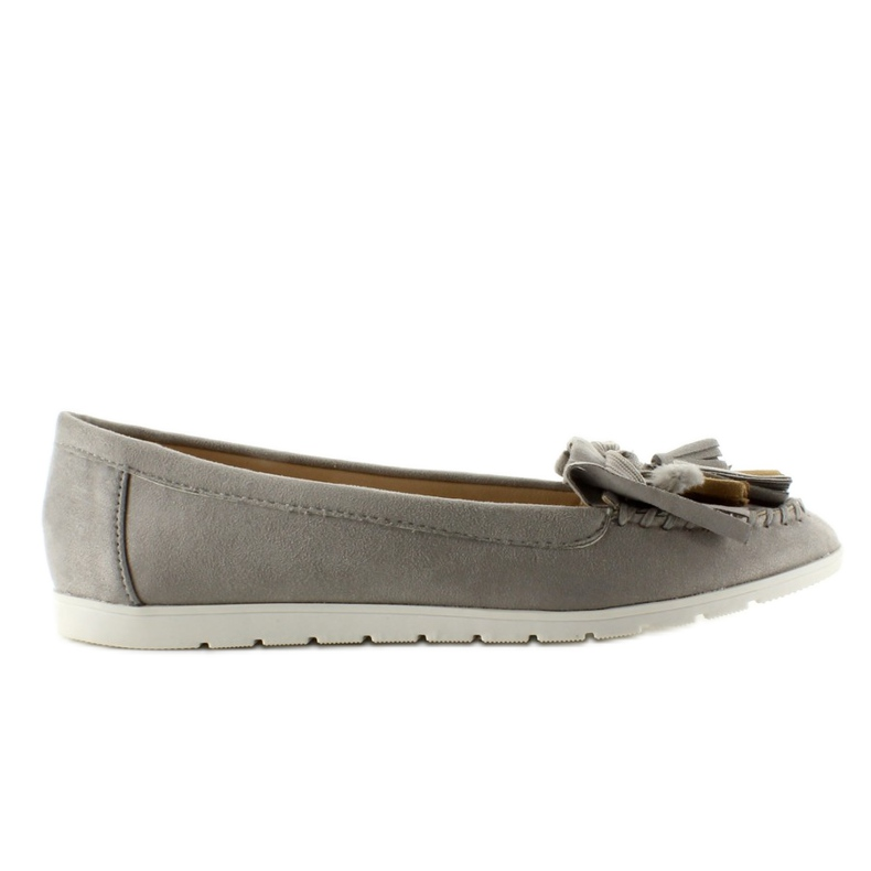 Suede loafers with 7122 Gray tassels grey