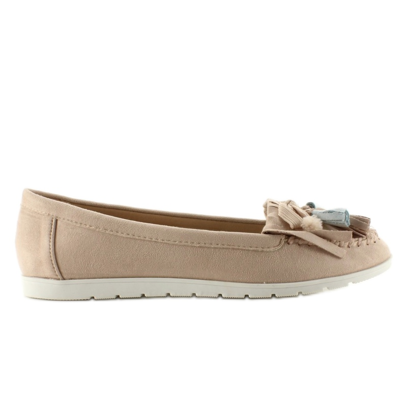 Suede loafers with 7122 Pink tassels brown