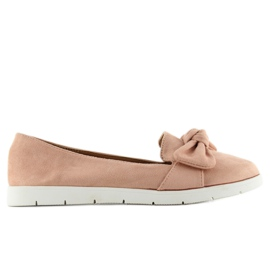 Suede ballerina with bow sk37p L. Pink