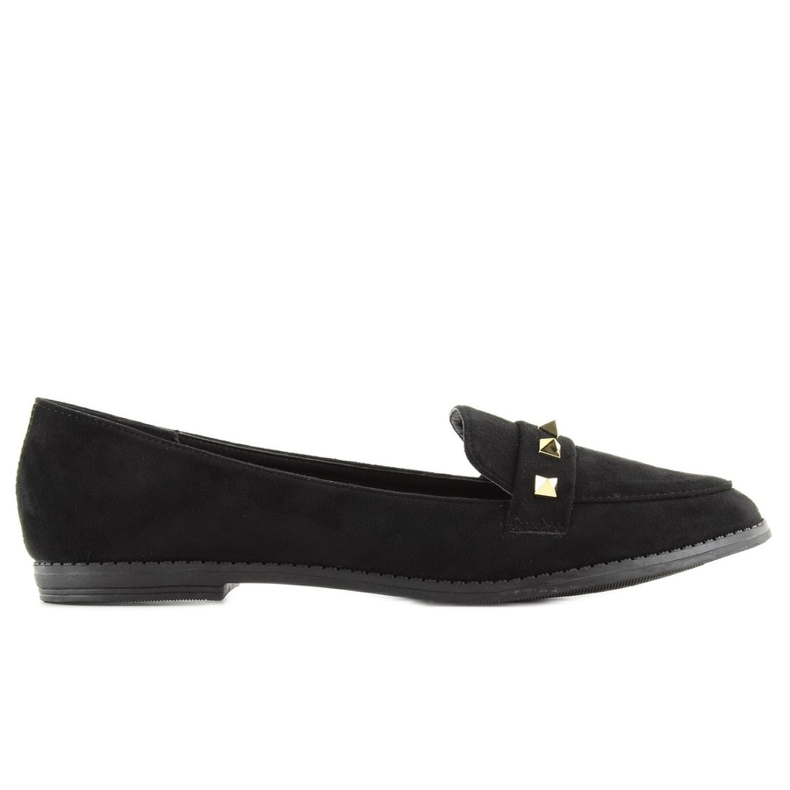 Women's loafers with studs 888-5 black