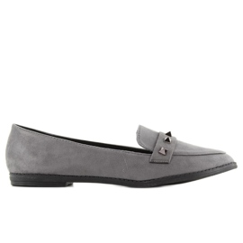 Women's loafers with studs 888-5 gray grey