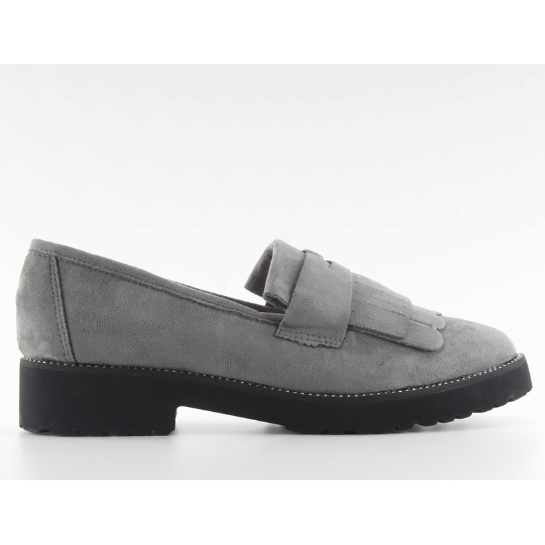 Women's loafers high sole F173p gray grey