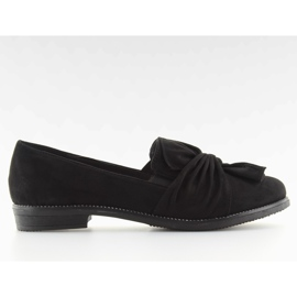 Women's loafers with black black bow