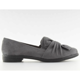 Women's loafers with a gray gray bow grey