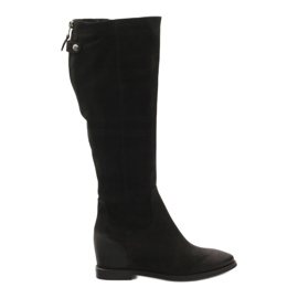 Black Boots with decorative Edeo 3138 zip