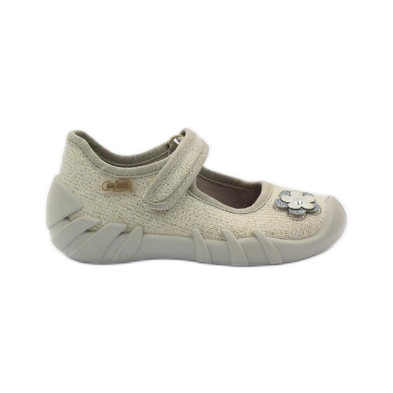 Befado children's shoes ballerinas slippers 109p163 brown grey yellow