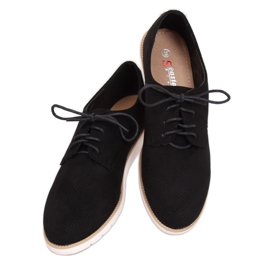 Loafers for women lace-up black T297 Black