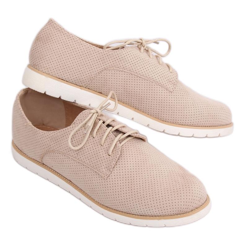Loafers for women lace-up beige T297 Beige