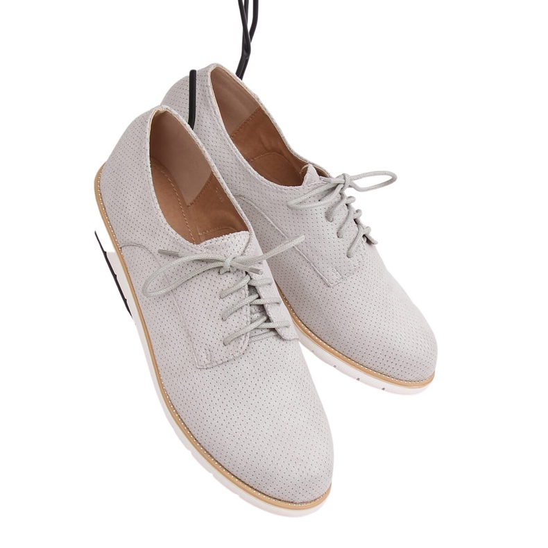 Loafers for women lace-up gray T297 Gray grey
