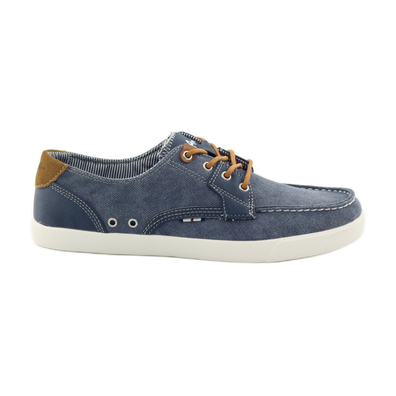 American Club American 205081 men's textile tied loafers navy blue