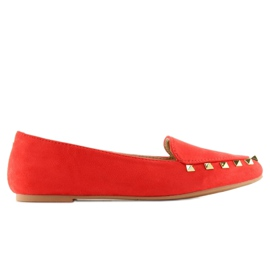 Women's loafers with studs red 1388 Red