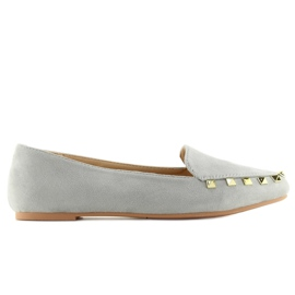 Women's moccasins with gray 1388 Gray studs grey