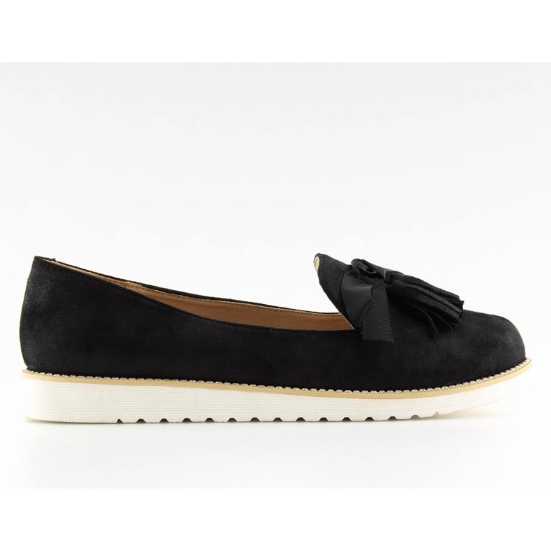 Women's loafers with tassels, black 7214 Black