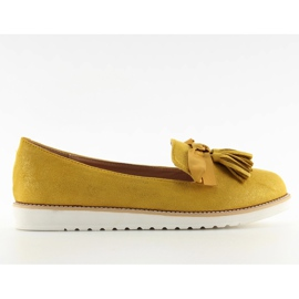 Loafers for women with yellow tassels 7214 Yellow