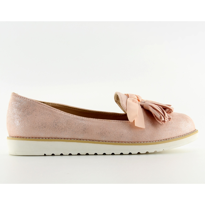 Women's loafers with pink fringes 7214 Pink